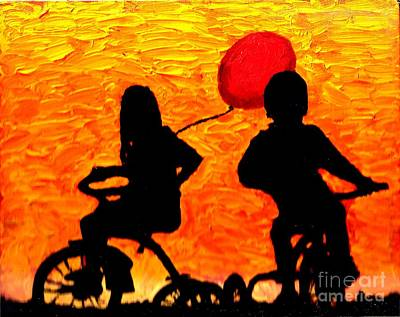 Painting - Trikes Red Baloon 1 by Richard W Linford