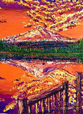 Painting - Trillium Lake At Sunset by Eryn Tehan