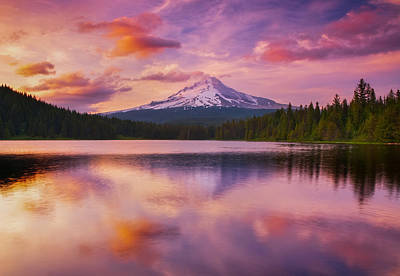 Mount Hood Photograph - Trillium Lake Pastels by Darren White