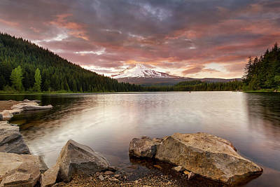 Photograph - Trillium Lake Sunset by David Gn