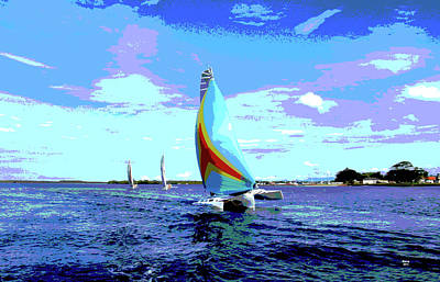 Mixed Media - Trimaran by Charles Shoup