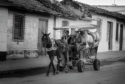 Photograph - Trinidad Cuba Hay Cart Bw by Joan Carroll