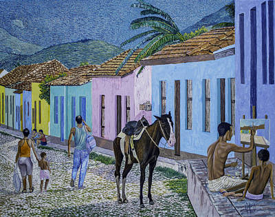 Caribe Painting - Trinidad Lifestyle 28x22in Oil On Canvas  by Manuel Lopez