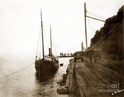 Photograph - Trinidad Wharf - Steamer Eddy Taking On A Cargo Circa 1895 by California Views Archives Mr Pat Hathaway Archives
