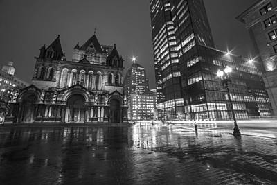Photograph - Trinity Church John Hancock Tower Boston Ma Black And White by Toby McGuire