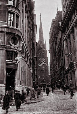 Photograph - Trinity Church Wall Street Canyon C. 1917 by Daniel Hagerman