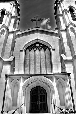 Photograph - Trinity Episcopal Cathedral Black And White by Lisa Wooten