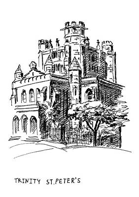 Drawing - Trinity Episcopal Church by Masha Batkova