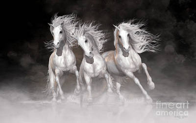 Shower Curtain Digital Art - Trinity Horses Neutrals by Shanina Conway