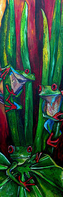 Painting - Trinity Of Tree Frogs by Patti Schermerhorn