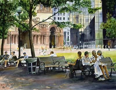 Hancock Building Painting - Trinity Plaza by Dan McCole