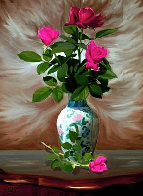 Window Bench Painting - Trinity Roses by Ron Chambers