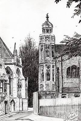 Pen And Ink Historic Buildings Drawings Drawing - Trinity Street Cambridge by Vincent Alexander Booth