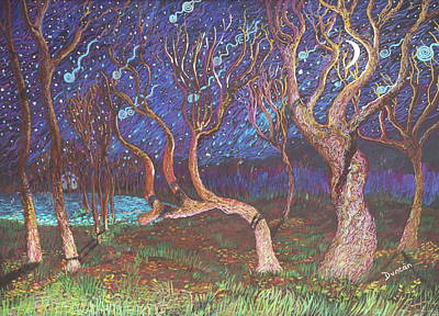 Painting - Trinity Tree By Moonlight by Stefan Duncan