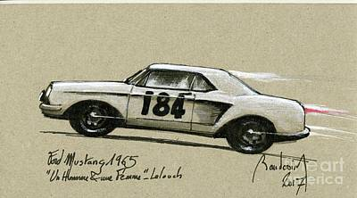 919 Painting - Trintignant's Mustang, A Movie Hero #1 by Alain Baudouin