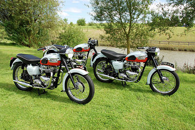 Triumph Bonneville Photograph - Trio Of 59 Bonnies by Mark Rogan