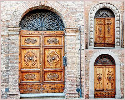 Photograph - Trio Of Old Wooden Doors Citta Della Pieve Umbria by Dorothy Berry-Lound