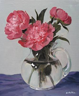 Painting - Trio Of Pink Peonies In Glass Pitcher by Robert Holden