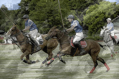 Polo Pony Painting - Trio Of Polo Ponies At Full Gallop by Elaine Plesser
