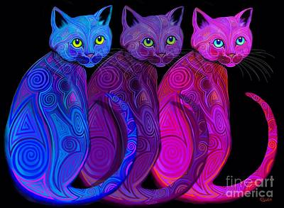 Digital Art - Trio Of Tribal Cats by Nick Gustafson