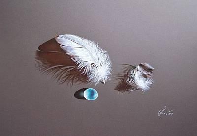 Sea Glass Drawing - Trio by Elena Kolotusha