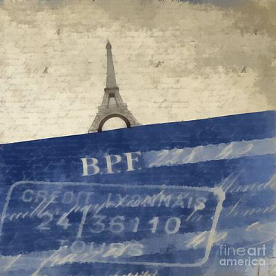 Vintage Blue Photograph - Trip To Paris Square Pillow Size by Edward Fielding