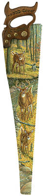 Saw Blades Painting - Triple Awareness - Whitetail Deer by Susan Zabel