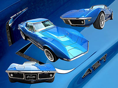 Classic Corvette Photograph - Triple Blue 68 Corvette C3 427 by Gill Billington