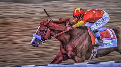 Digital Art - Triple Crown Winner Justify by Rick Mosher