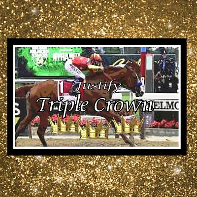 Digital Art - Triple Crowned Justify by Gayle Price Thomas