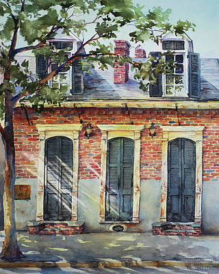 Creole Cottage Wall Art - Painting - Triple Doors by Sue Zimmermann