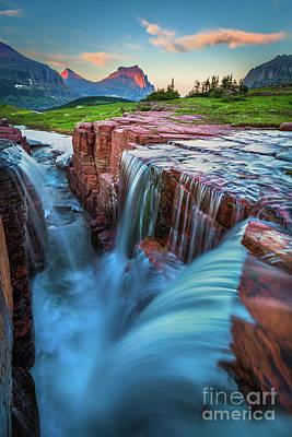 Photograph - Triple Falls Dusk by Inge Johnsson