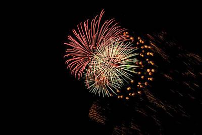 Photograph - Triple Fireworks Blast by Debra Martz