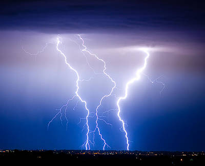 The Lightning Man Photograph - Triple Lightning by James BO  Insogna