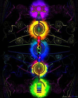 Digital Art - Triple Moon Goddess Totem by Iowan Stone-Flowers