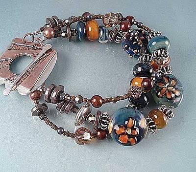 Lampwork Bracelet Glass Art - Triple Strand Artisan Bracelet- Blue On Blue by Deborah Lambson