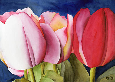 Triple Tulips Art Print