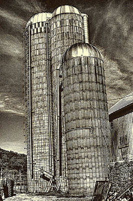 Photograph - Triplet Silos Wisconsin Dairy Farm by Roger Passman