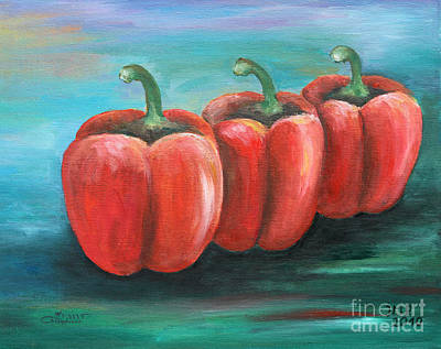 Bell Peppers Painting - Triplets by Jutta Maria Pusl