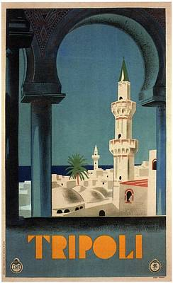 Royalty-Free and Rights-Managed Images - Tripoli, Libya - View of Mosque - Retro travel Poster - Vintage Poster by Studio Grafiikka