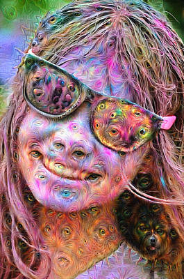 Mixed Media - Trippy Colorful Woman Portrait Deep Dream by Matthias Hauser