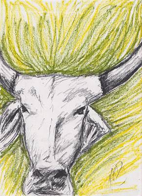 Drawing - Trippy Cow by Kat Heckenbach