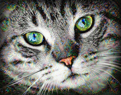 Digital Art - Trippy Deep Dream Cat Portrait by Matthias Hauser