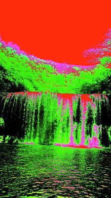 Digital Art - Trippy Kauai Waterfall by Erika Swartzkopf