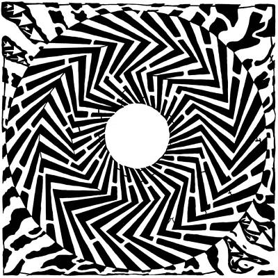 Trippy Optical Illusion Swirly Maze  Art Print by Yonatan Frimer Maze Artist