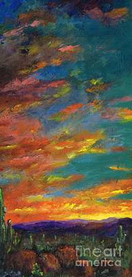 Sunset Abstract Painting - Triptych 1 Desert Sunset by Frances Marino