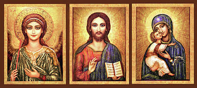 Orthodox Icon Mixed Media - Triptych Icons by Ananda Vdovic
