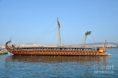 Photograph - Trireme Olympias Moored By The Stern by George Atsametakis