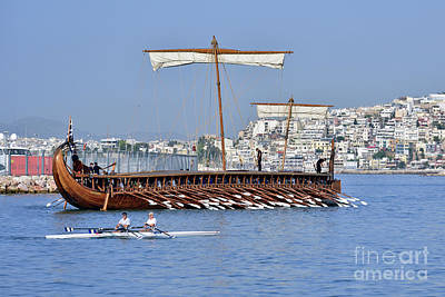 Photograph - Trireme Olympias Underway by George Atsametakis
