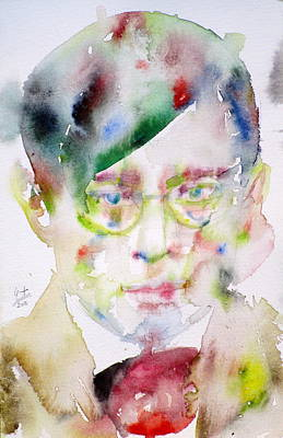 Dadaism Painting - Tristan Tzara - Watercolor Portrait.2 by Fabrizio Cassetta